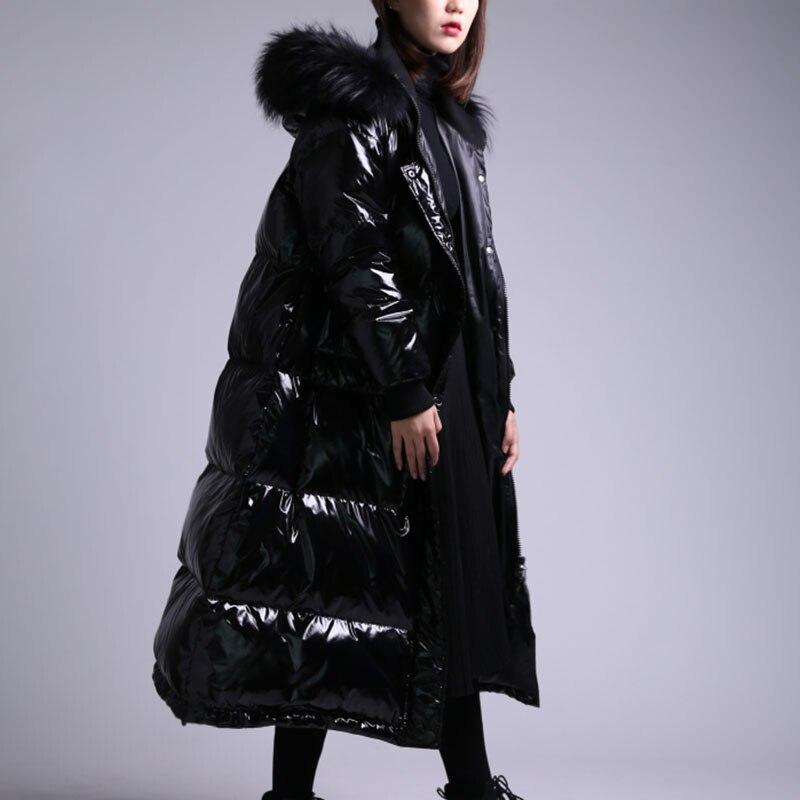 2019 x long 90% duvet manteau à capuche avec véritable col de fourrure hiver chaud veste femmes épais imperméable femme Parka bouffante neige Outwear