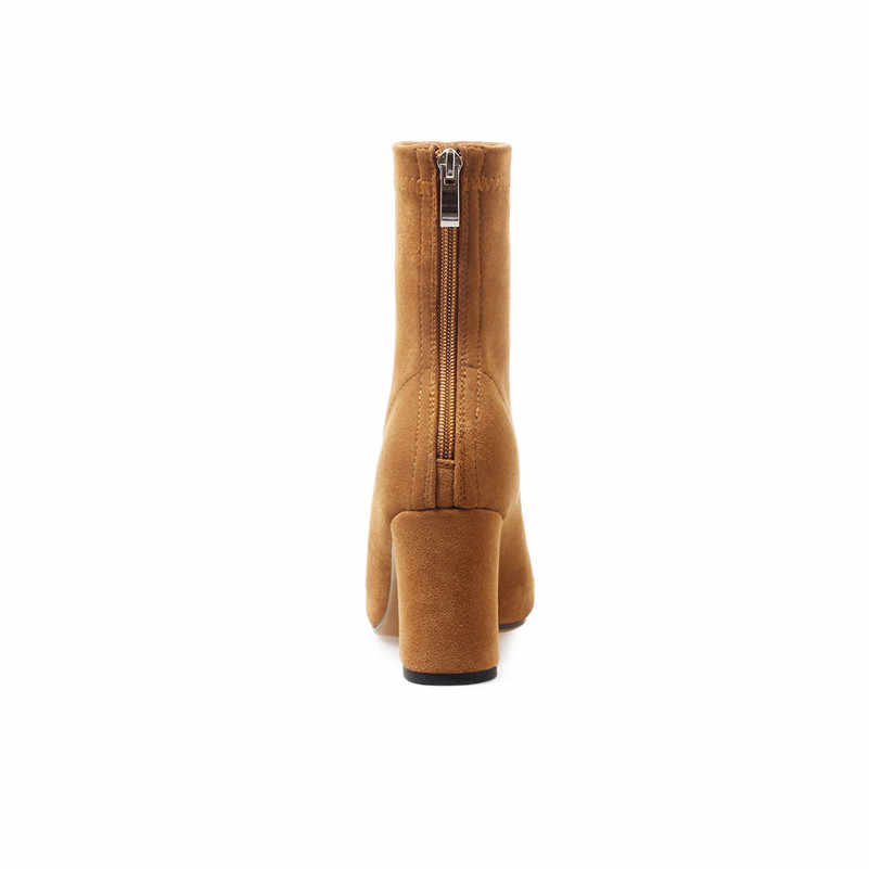 ANNYMOLI automne bottes élastiques femmes Zipper carré talons hauts bottines Slim Stretch bout pointu chaussures femme hiver taille 34-39