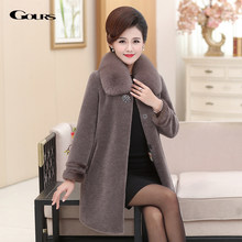 GOURS Real Fur Jacket Women Winter Coats and Jackets Natural Wool Clothes with Fox Fur Collar Warm Mink Fur Plus Size LD1821-1(China)