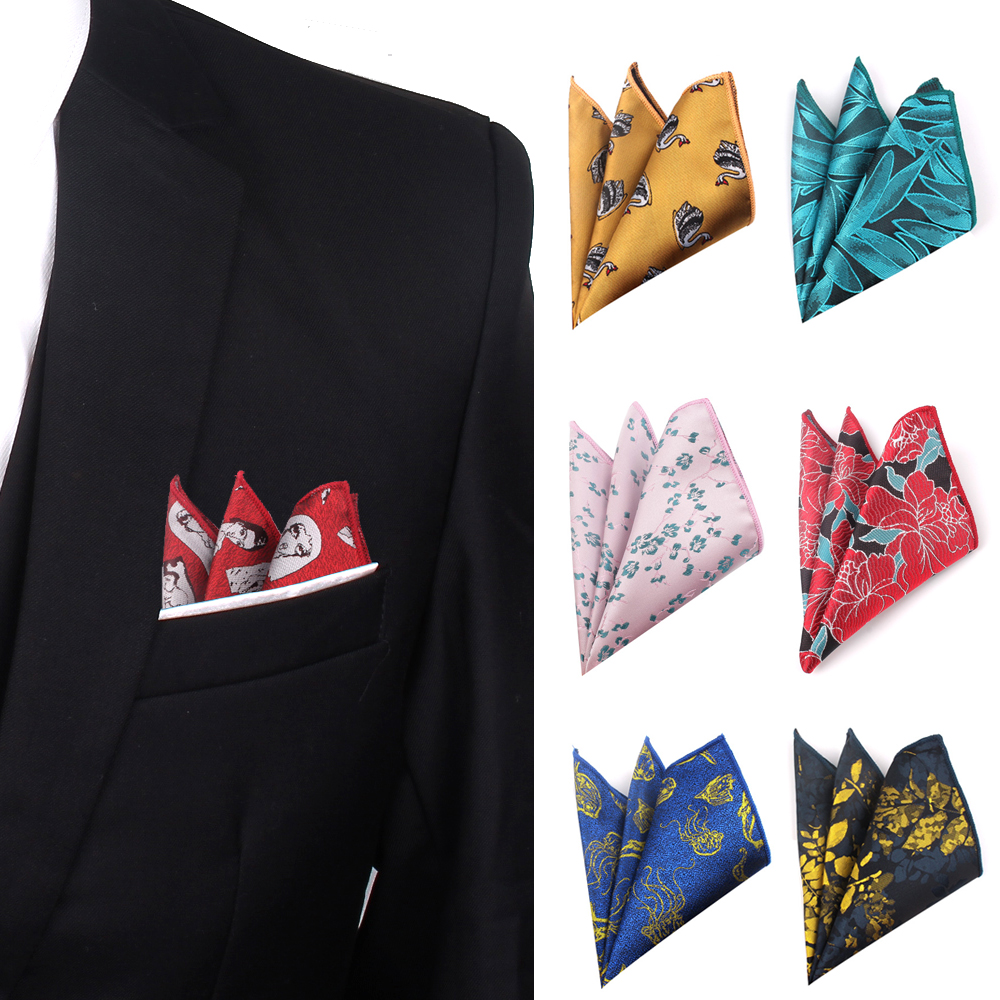 Men Handkerchief Polyester Woven Cartoon Pattern Hanky Casual Pocket Square For Men Chest Towel For Business Wedding Hankies