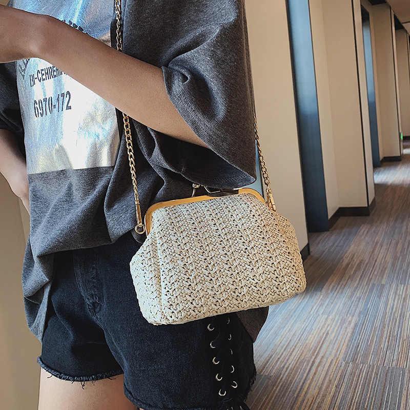 DALFR sac de paille femmes 2019 nouvelle serrure sacs à bandoulière dames sacs à main et sacs à main voyage plage fête sac à bandoulière