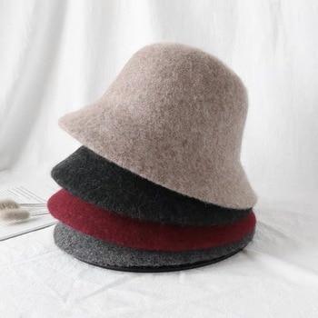 Autumn Winter Wool Bucket Hat Women Fashion Vintage Fisherman Hats Versatile Cap Spring Felt Hat 6 Colors Foldable free shipping