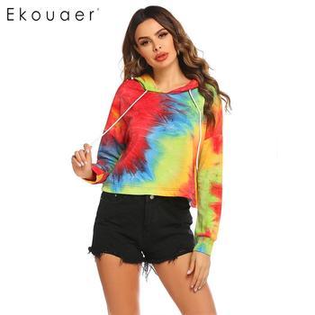Ekouaer Women Casual Hooded Long Sleeve Tie-dye Drawstring Hoodie 2020 New Streetwear Ladies Hoodie Women Drawstring Hooded Swea black and white colour matching drawstring hooded hoodie