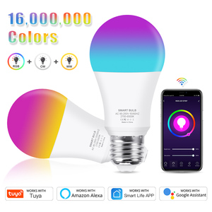 12W 15W WiFi Smart Light Bulb E26 E27 LED RGB Lamp Work with Alexa/Google Home Tuya Smart Life APP Dimmable RGB+White+Warm White