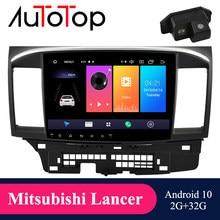 Reprodutor dos multimédios do carro do andróide 10.0 de autotop 2din para a navegação do rádio gps de lancer x 2007-2018 bluetooth 4g wifi mirrorlink nenhum dvd