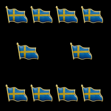 10PCS Sweden United Nations Flag Pin Badge for Man Woman Lapel Badge Decorations Pride sweden waving friendship flag metal lapel pin united nations badge pin back tie badge
