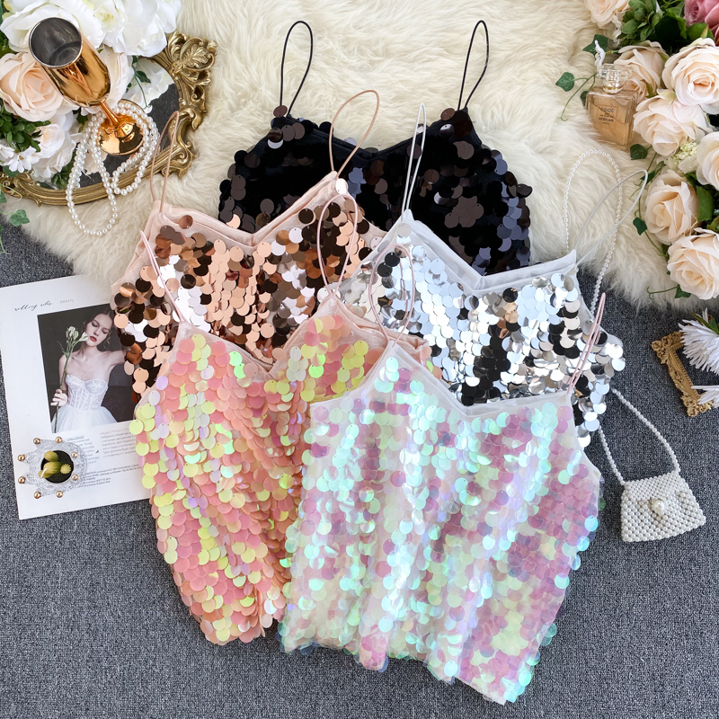Europe and America ins super fire sexy camisole goddess fashionable bling sparkle wild western style top