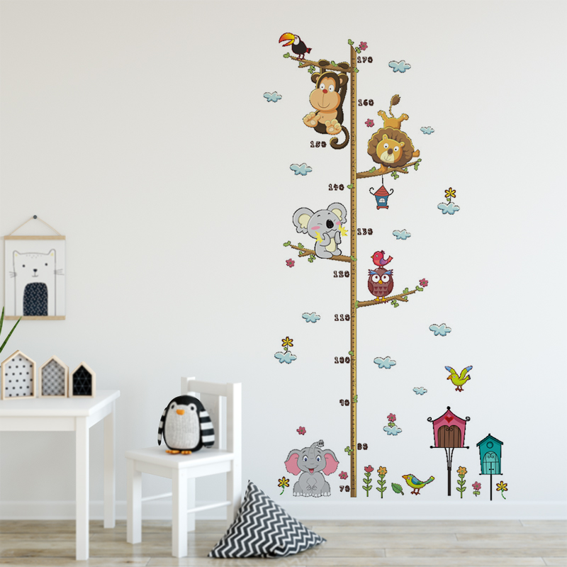 Cartoon Animal Height Ruler Meaure Wall Stickers For Kids Room Bedroom Cute Lion Monkey Elephant Growth Chart Ruler Wall Decals