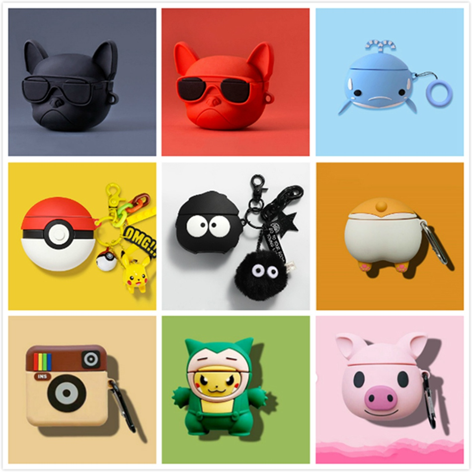 3D Cartoon Earphone Case For Huawei Freebuds 3 Case Cute Stitch Pig Silicone Cover For Huawei Freebuds 3 Pro Cases With Keychain