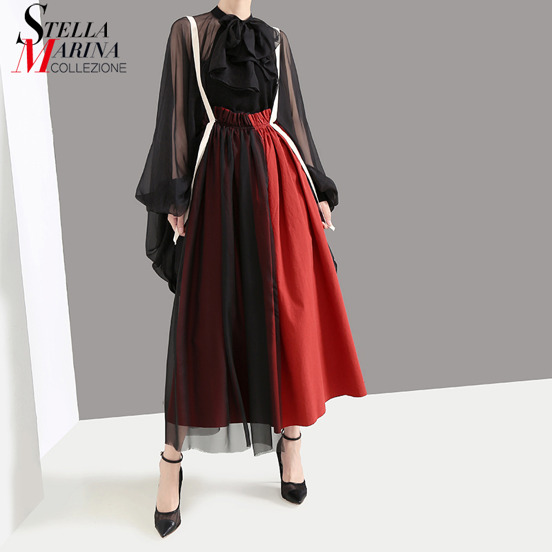 New 2020 Korean Style Women Red Color Long A-Line Skirt Mesh Patchwork Empire Elastic Waist Ankle Length Lady Casual Skirt 5390