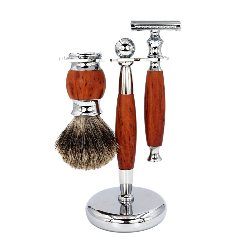 Men Shaving Manual Razors Set Adjustable Double Edge Blade Razor Pure Badger Shaving Brush Shaver Stand Holder Kit