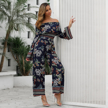 JYSS Bohemian two piece set top and long pants dark blue floral grass pattern off shoulder 2 piece set women outfit summer 30035