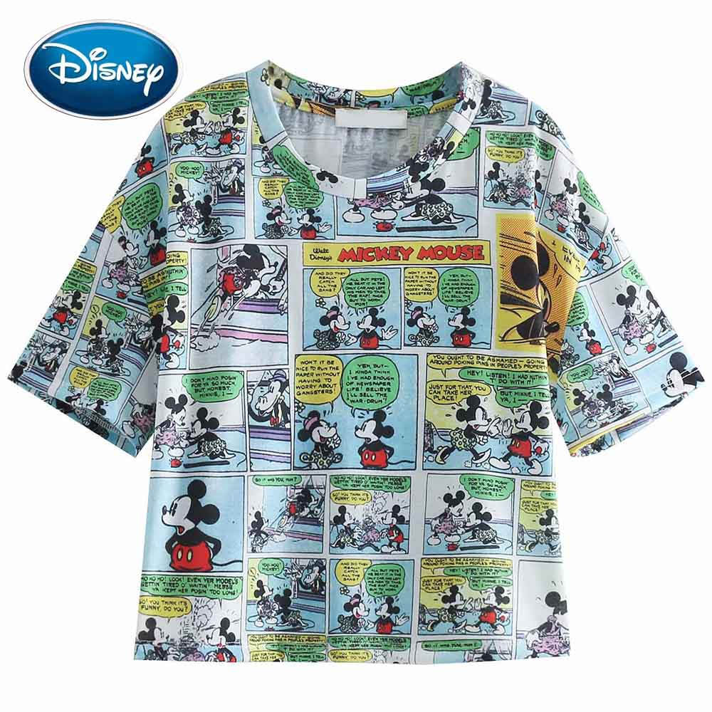 Disney Stylish Cute Mickey Minnie Mouse Cartoon Letter Print T-Shirt O-Neck Pullover Fashion Women Short Sleeve Loose Tee Tops
