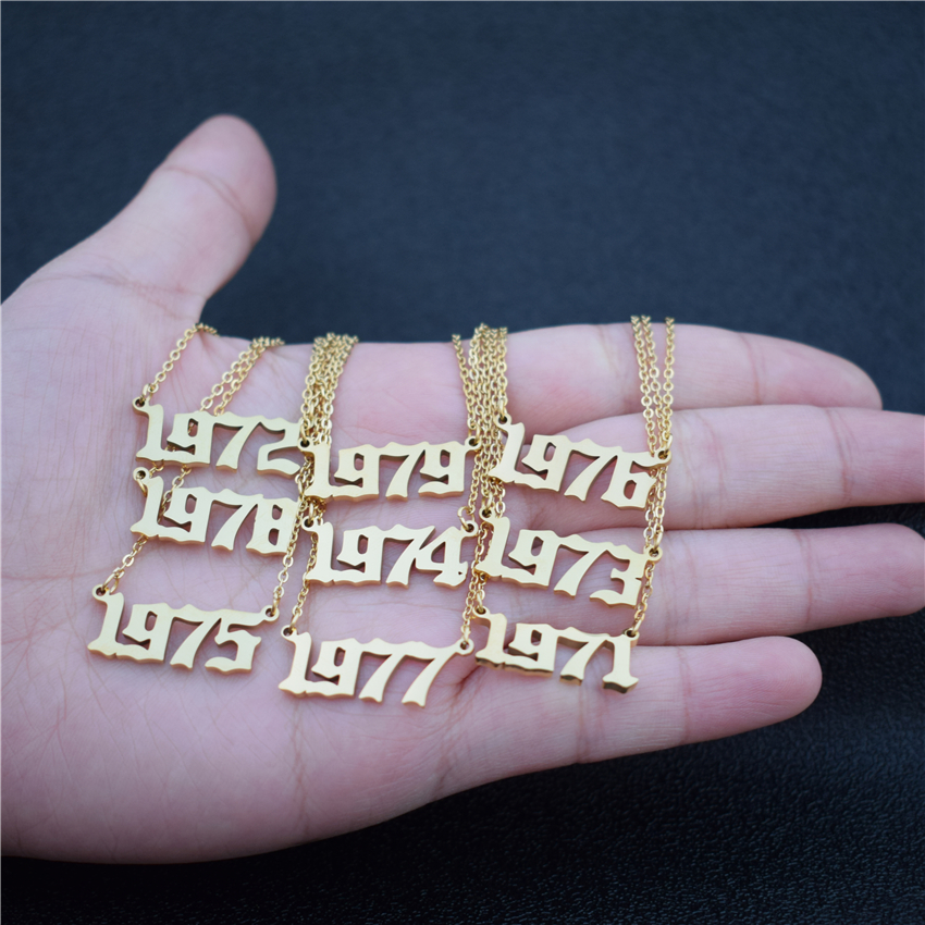 Custom Jewelry Personalized Special Date Year Number Necklace For Women Collares 1971 1972 1973 1974 1975 1976 1977 1978 1979