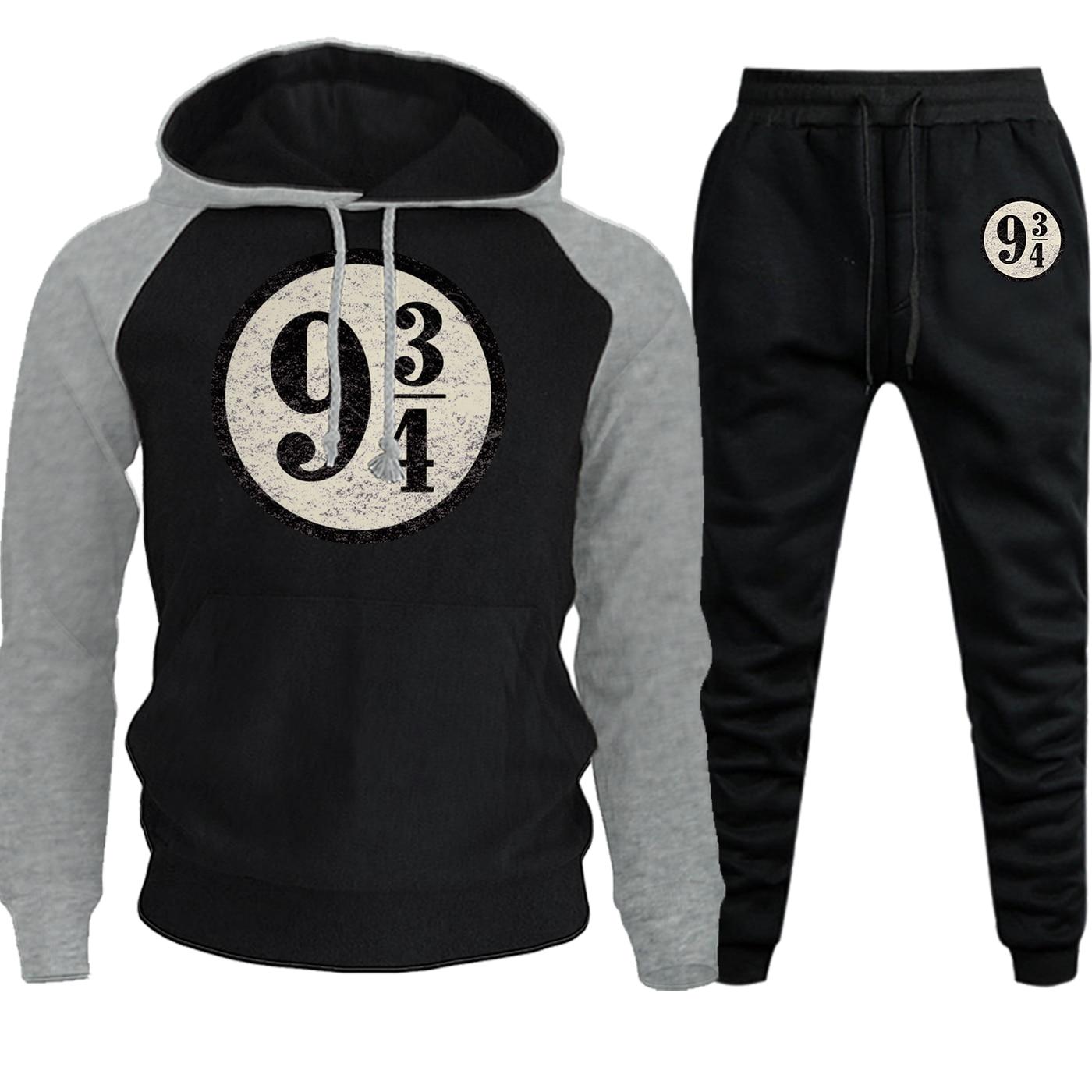 Nine And Three Quarters Autumn Winter Hot Sale Hoodie Raglan Men Sweatshirt Vintage Print Suit Fleece Pullover+Pants 2 Piece Set