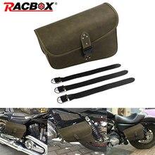 Motorcycle Retro PU Leather Left side Saddle Bag Brown Travel Luggage Bag Universal For Sportster XL 883 Hugger Sportster цена 2017