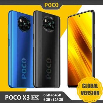 "Versão global xiaomi poco x3 nfc celular 6gb ram 64gb/128gb rom snapdragon 732g 64mp quad camera 6.67 ""120hz 5160mah telefone 1"