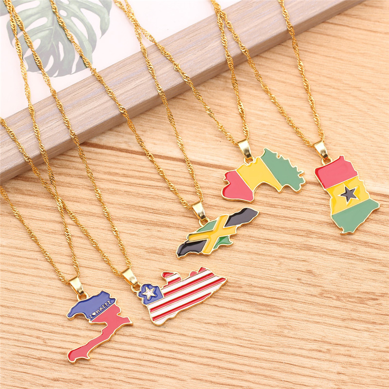 10pcs <font><b>BFF</b></font> Jewelry 26style Plate Flag Necklace Republic Iraq for Women Men Rwanda Puerto Rico Map Pendant Necklace Gold <font><b>Ketting</b></font> image
