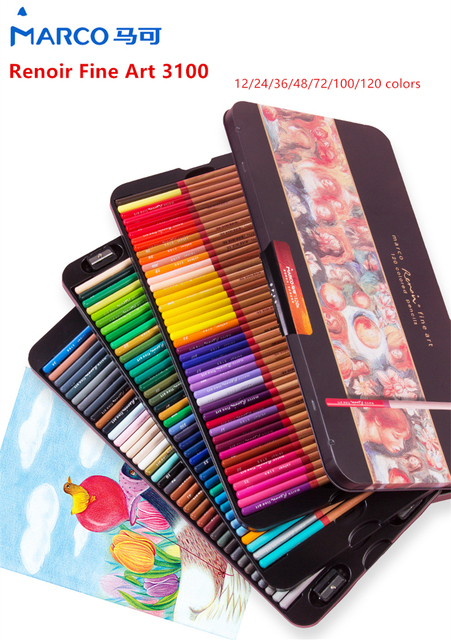 Marco Renoir Fine Art 12/24/36/48/72/100/120 Professional Colored Pencils Crayons Colouring Drawing Set 2