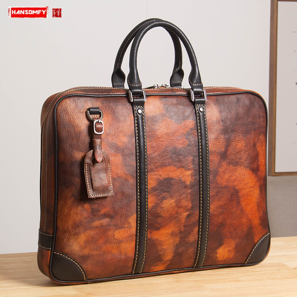 Men's Bag 2019 New Men Handbag Business Shoulder Bag Diagonal Cross Vegetable Tanned Cowhide Leather Briefcase Computer Bags
