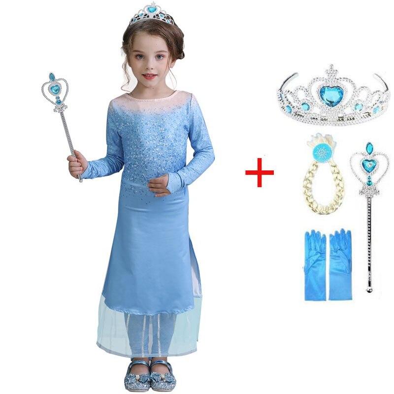 Image 4 - 2020 חדש בנות אלזה שמלת סט נסיכת אנה אלזה קוספליי תלבושות מסיבת יום הולדת נסיכת שמלה לילדים Vestidosשמלותאמהות וילדים -