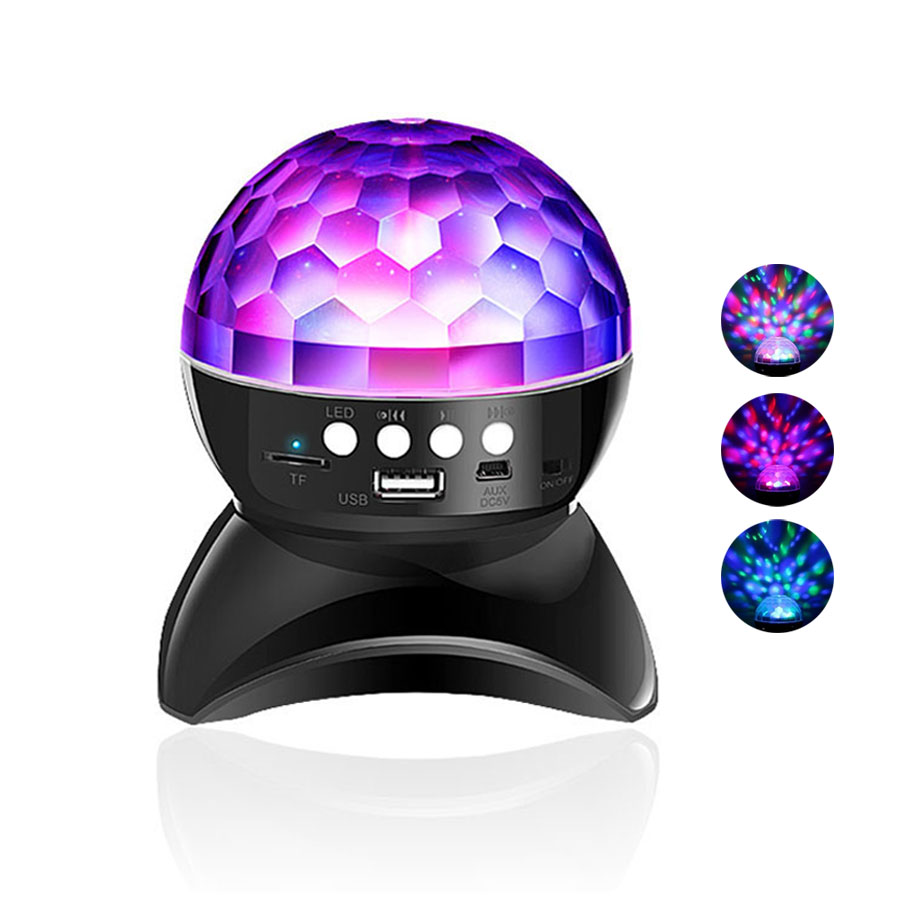 Crystal Ball Projection Lamp 360° Rotating Wireless Bluetooth Speaker USB Rechargeable Disco Party Stage Effects LED Lighting