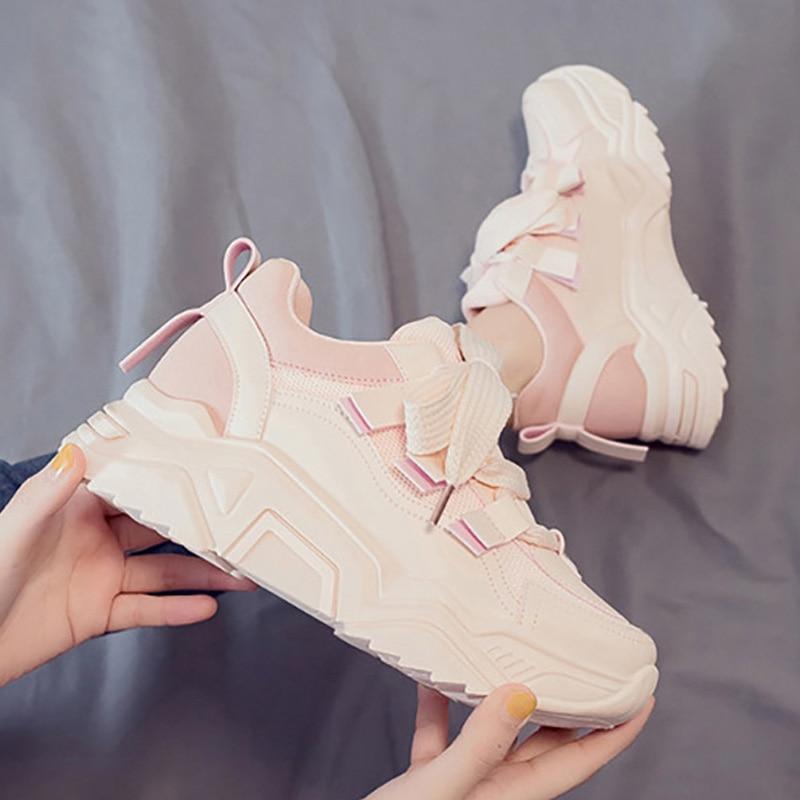 Chunky Sneakers Women Shoes 2020 New Women Vulcanize Shoes Harajuku Platform Sneakers Walking Shoes Women Sneakers Trainers
