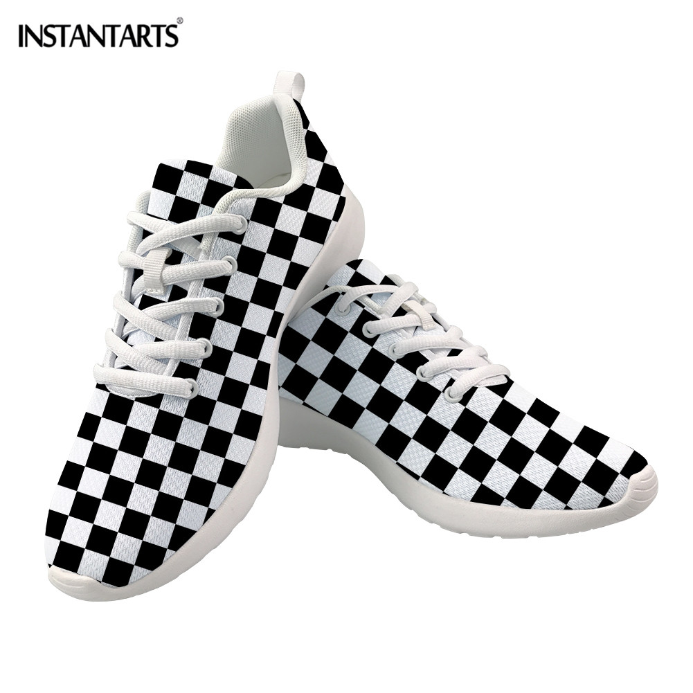 New INSTANTARTS Casual Sneakers Women Black and White Grid Print Mesh Lacing Flat Shoes Female Breathable Tenis Feminino Footwear