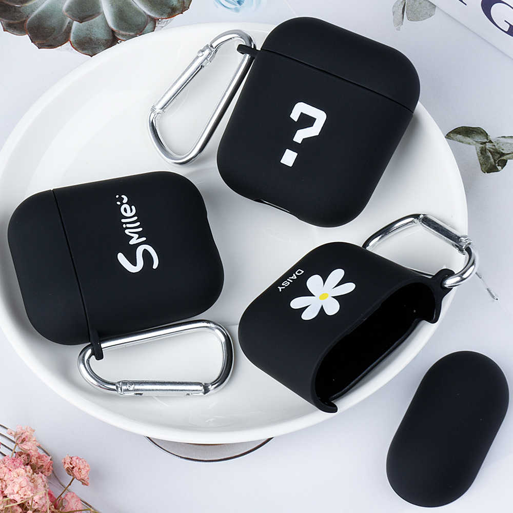 Protective PC Earphone Cover For Apple Airpods 2 1 Frosted Protective Case For Airpods 2 1 Smile Punctuation Pattern Protector