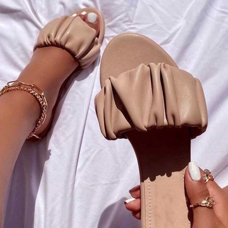 Wanita Lipit Sandal Wanita Fashion Kolam Terbuka Toe Flats Wanita Kasual Beach Sepatu Wanita Slide Wanita Alas Kaki Plus Ukuran