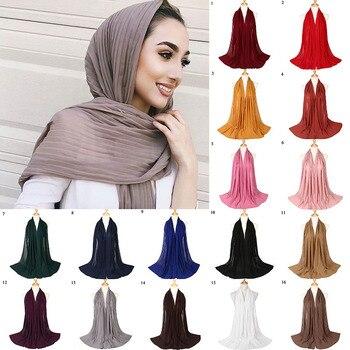 Bubble Chiffon Women Scarf Islamic Headscarf Solid Bandanas Crumple Shawl Crinkled Shawls Muslim Hijabs 180*85cm Wraps Scarves 105 105cm bubble chiffon square islamic scarves women s plain colours muslim headscarf with rhinestone pearl decor arab shawl