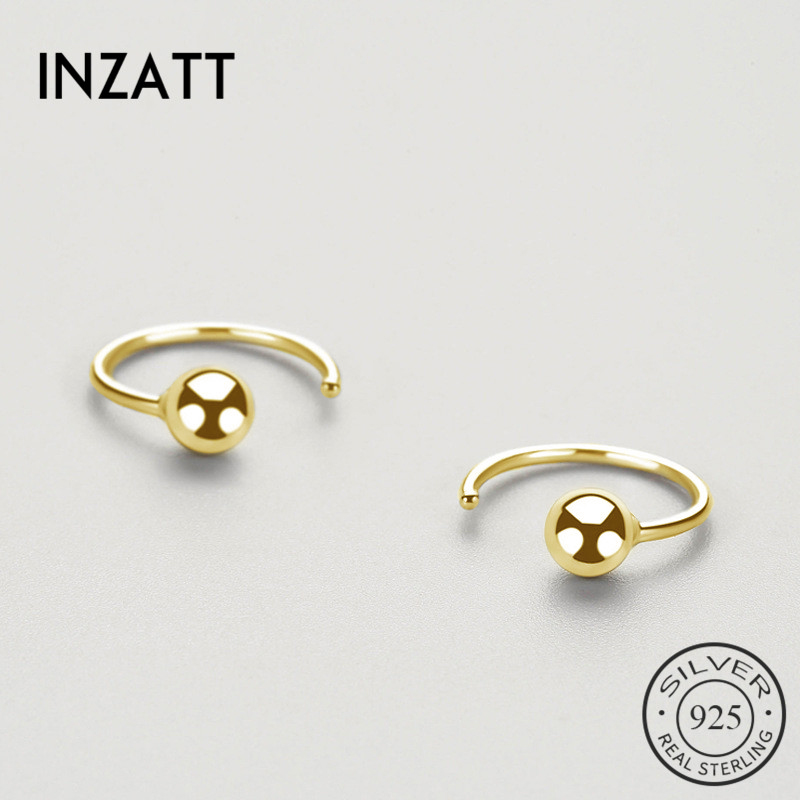 INZATT Real 925 Sterling Silver Minimalist Bead Hoop Earrings For Fashion Women Party Trendy Fine Jewelry Accessories Gift