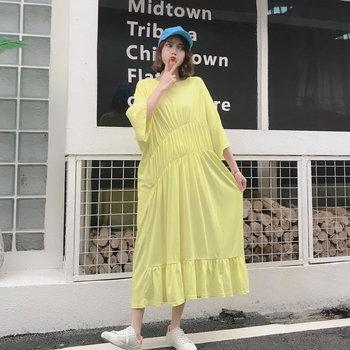XITAO Pleated Plus Size Dress Fashion Pullover Goddess Fan 2020 Summer Goddess Fan Minority Casual Style Loose Dress GCC3517 3