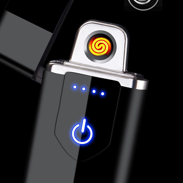 Electric Lighter USB Rechargeable Portable Windproof Smoking Accessories Tools Multicolor Lighters Ultra-thin 4