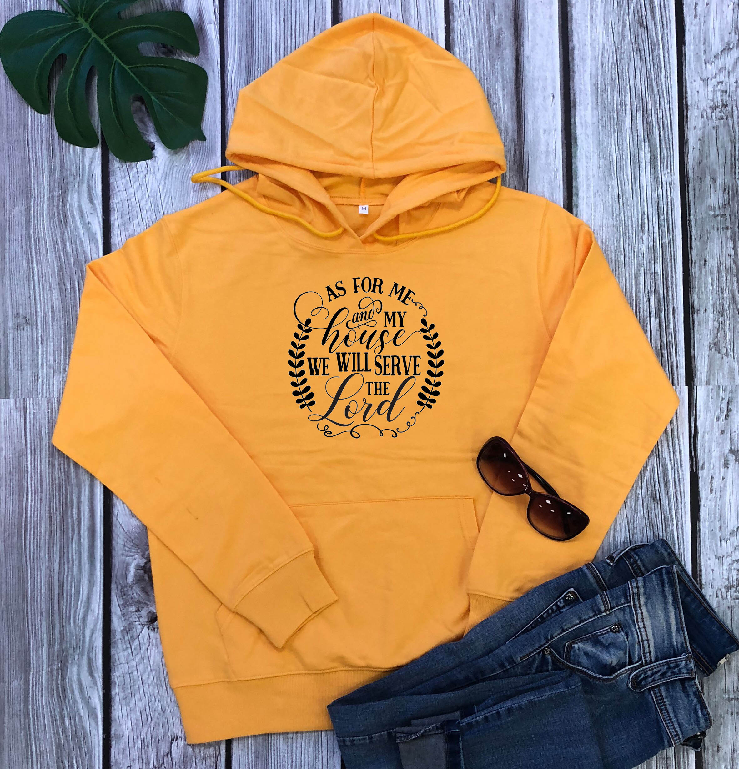 As For Me And My House We Will Serve The Lord Hoodies Women Fashion Pure Cotton Casual Christian Bible Baptism Pullovers Tops