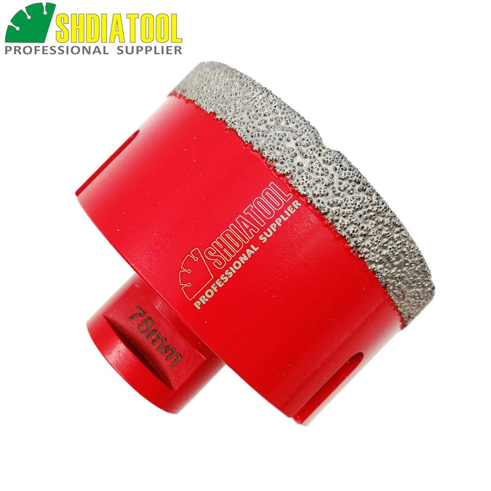 SHDIATOOL Dia75mm Vacuum Brazed Diamond Drilling Bits Porcelain Tile Drill Bits Granite Marble Crown M14 Thead Hole Saw