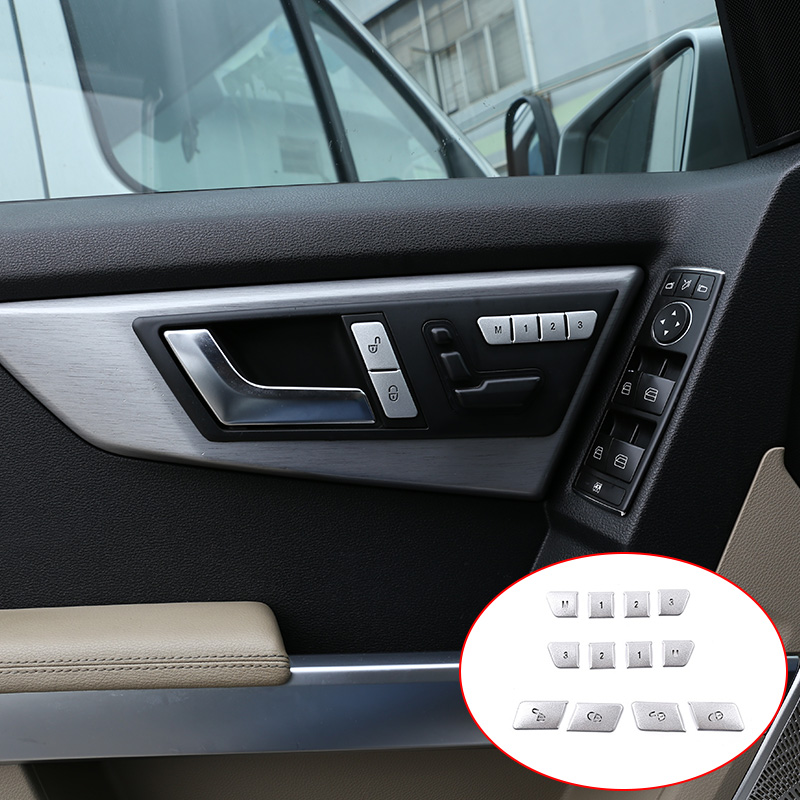 Car Seat Adjust Button Cover Door Unlock Sticker For <font><b>Mercedes</b></font> Benz A <font><b>B</b></font> C E Class W204 W212 GLA X156 CLA C117 GLE W166 ML GL GLS image