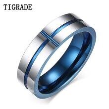 Tigrade Трендовое кольцо с синей внутренней стороной 6 мм мужские