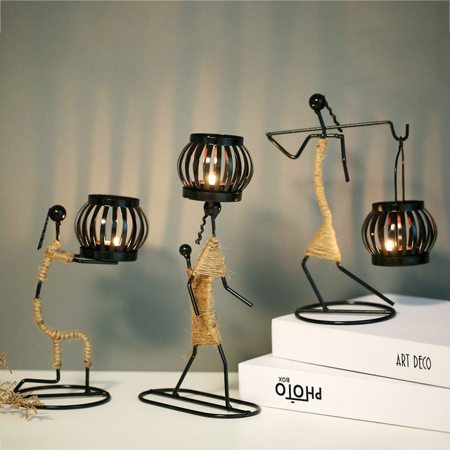 Ins Metal Candlestick Abstract Character Statue Candle Holder Decoraction Ornaments Handmade Figurines Home Decoration Art Gift 2