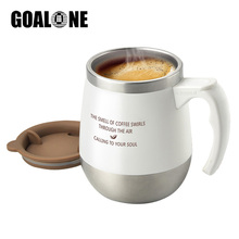 GOALONE 14OZ Insulated Coffee Mugs Double Wall Stainless Steel Tumbler with Spill Resistant Lid and Handle New Travel Beer