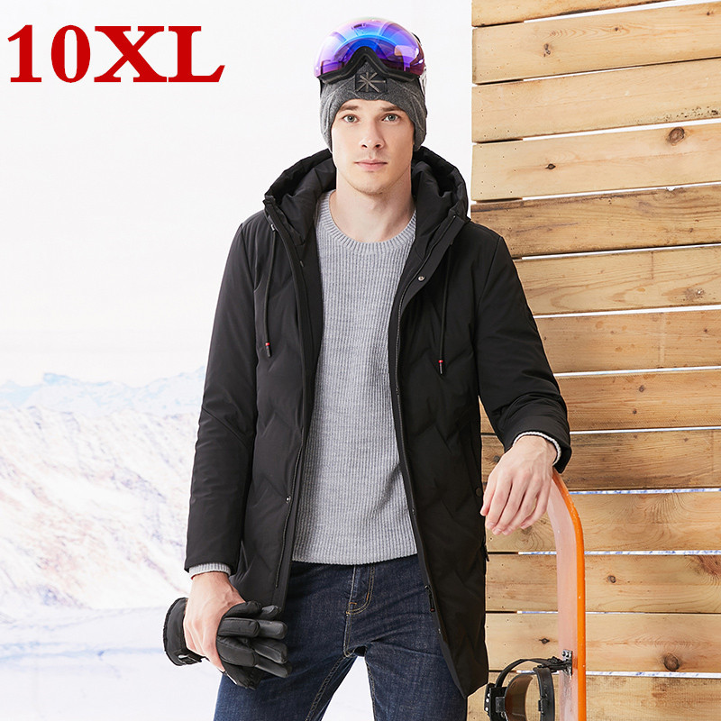 Plus Size 10XL 9XL New Hooded White Duck Down Jacket For Men High Quality Warm Down Jacket Parka Real Fur Winter Thick