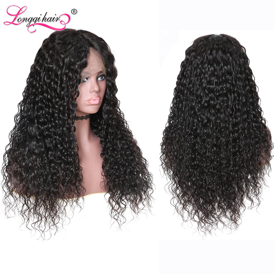 Wigs Human-Hair Water-Wave Longqi Full-Lace Brazilian Black-Women for Remy Pre-Plucked
