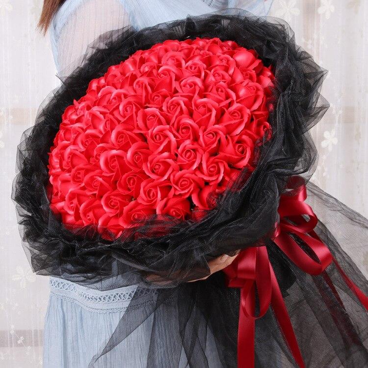 Cadeau créatif 99 simulé rose savon fleur ronde à la main bouquet saint valentin anniversaire thanksgiving mousse fleurs de mariage
