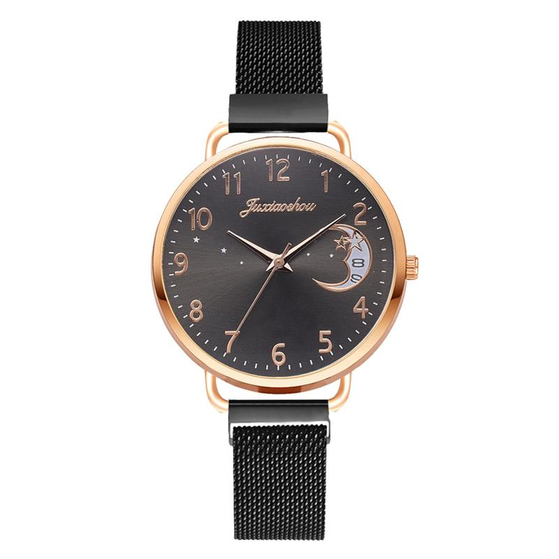Rose Gold Mesh Strap Women's Fashion Watches Simple Numbers Dial Luxury Quartz Watch Women Clock Rose Gold Pointer Wristwatches 10