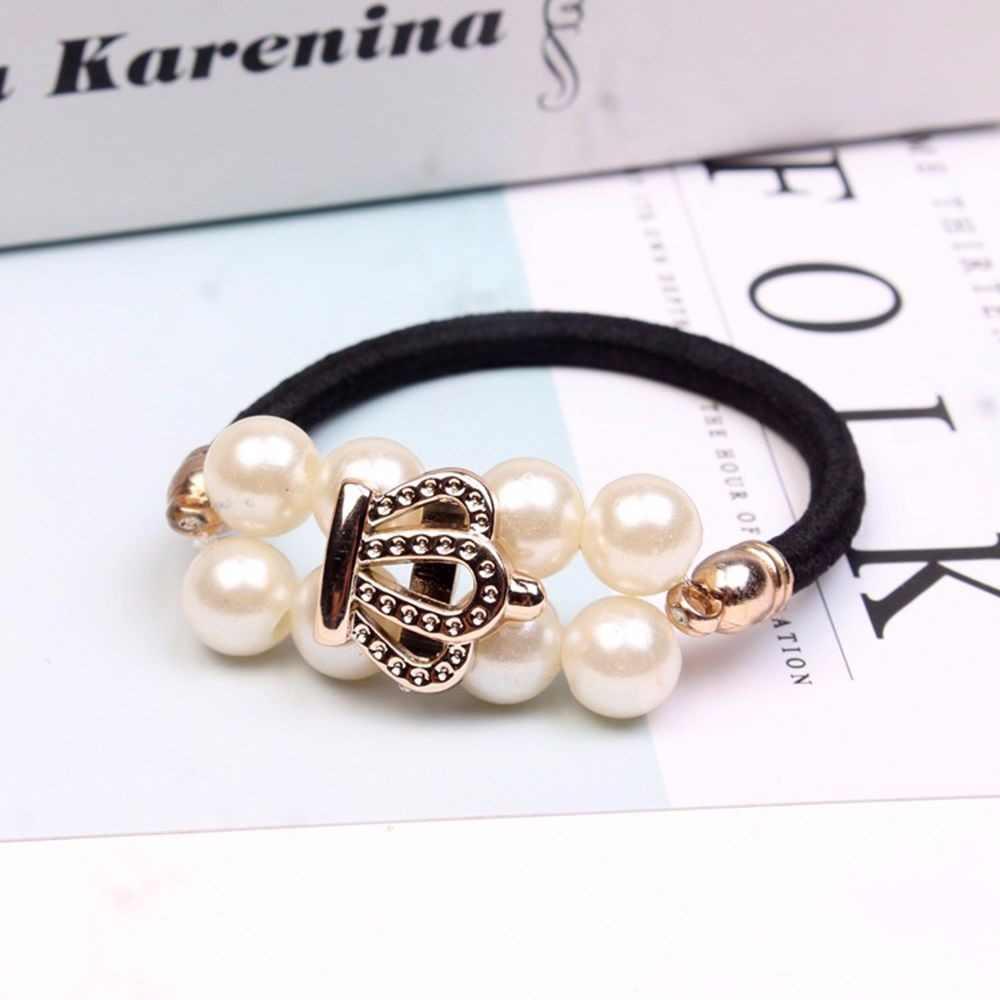 1Pc Koreaanse Stijl Dubbele Rij Parel Haar Ring Hoofd Touw Voor Meisjes Dames Boog Touw Meisjes Hoofdband Decoraties Haar accessoires Nieuwe