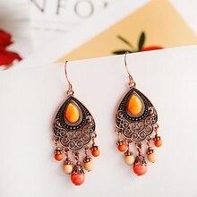 Bohemian Orange Beaded Tassel Drop Earrings Ethnic Carved Alloy For Women Vintage Stone Boho Ladies Earrings bohemian beaded tassel drop earrings