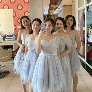 Image 5 - PSQY B#New short white bridesmaid dresses spring summer 2020 girl wedding party prom toast dress girls Sister group wholesale