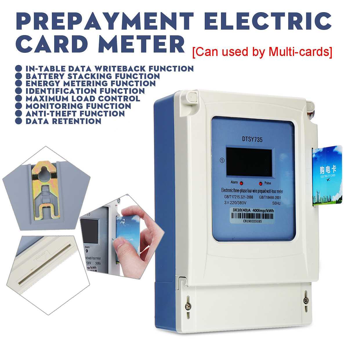 Compteur d'énergie 3 phases 4 fils 3x220/380 V prépaiement compteur de carte électrique énergie multi-utilisateur LCD rétro-éclairage affichage numérique