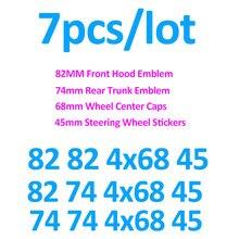 7X для E60 E90 F10 F30 F15 автомобильные наклейки на рулевое колесо, центральный колпачок автомобильного колеса, передний и задний значки 82 мм 74 мм 68 ...