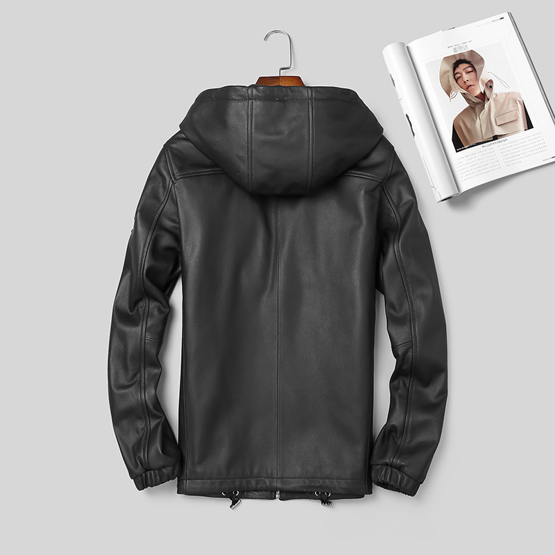 2020 New Genuine Leather Jacket Men Hooded Spring Autumn Real Sheepskin Coat Motorcycle Real Leather Jackets 3918 KJ2988